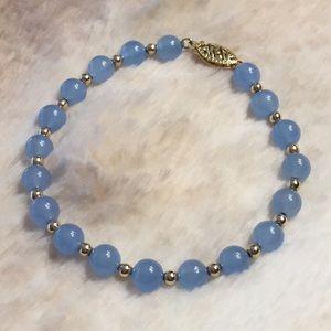 14K Yellow Gold & Blue Jade Bead Bracelet